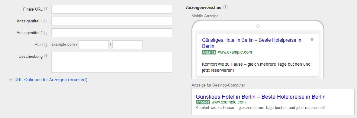 Google AdWords Extended Text Ads